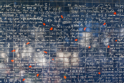 The famous wall of love in Montmatre, where'I love you' is written in 311 languages