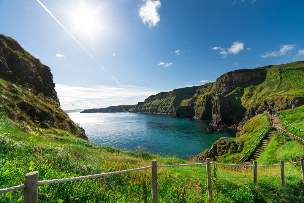 The beautiful landscape of cliffs in Northern Ireland