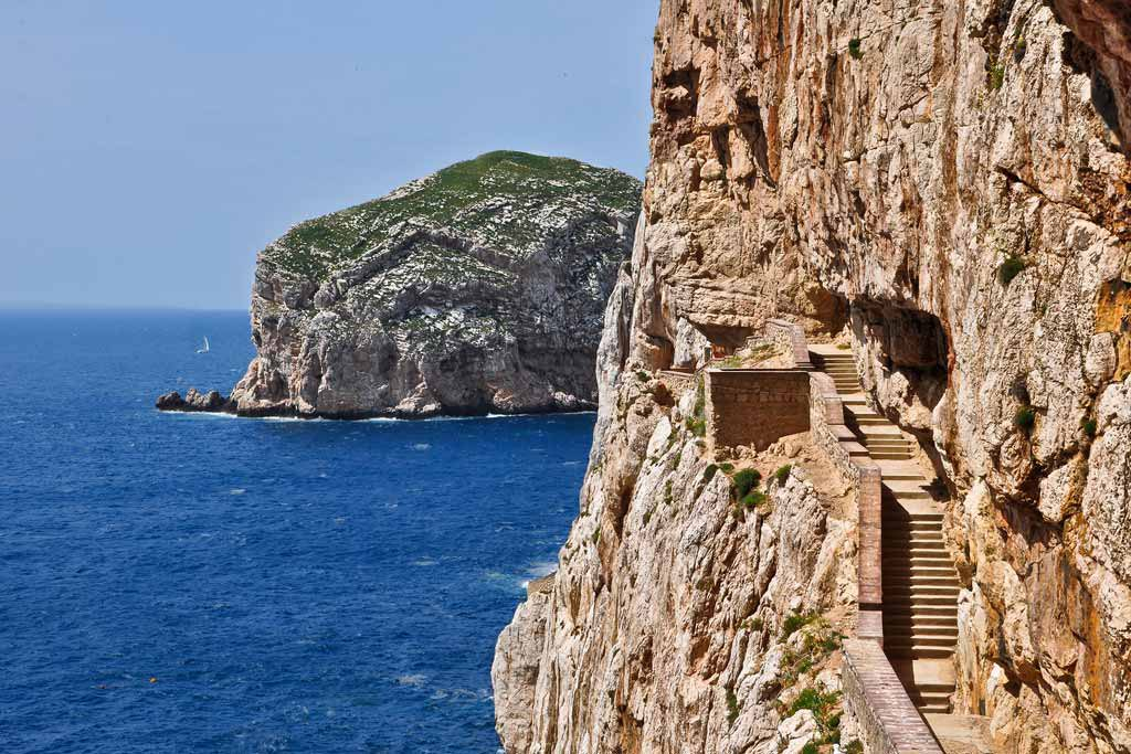Stairways to stalactite cave of Neptune Grotto in Alghero in Sardinia