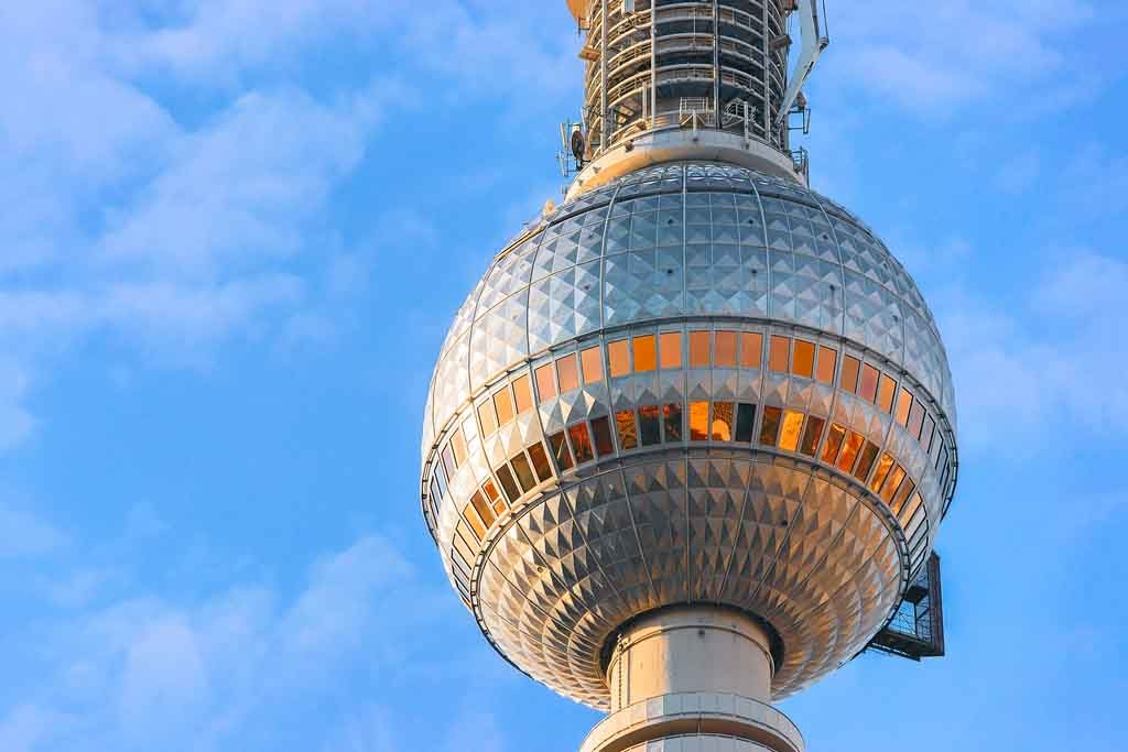 In the dome of the Berlin TV tower is a revolving restaurant for a 360 degree panoramic view